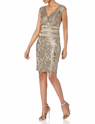 Tadashi Shoji Women's V-Neck Sequinned Dress with Banded Waist Detail