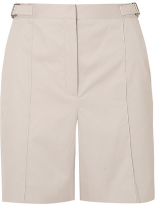 ALEXACHUNG Pleated Cotton-blend Drill Shorts - Light gray