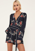 Missguided Navy Floral Binded Pyjama Style Playsuit