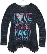 Self Esteem Long-Sleeve Graphic Sharkbite Tunic with Necklace - GirlsSmall-XXLPlus