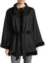 Sofia Cashmere Belted Cashmere Cape w/ Cross Cut Mink Fur Trim