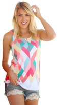 Orangeskycn Women Summer Loose Geometry Printing Vest Sleeveless Blouse Tank Tops T-Shirt (L, )
