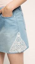 Esprit OUTLET lace trimmed denim skirt