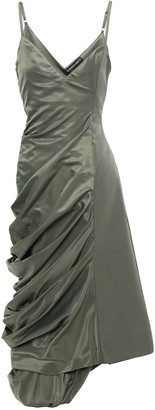 Y/Project Asymmetric Ruched Draped Faille Midi Dress