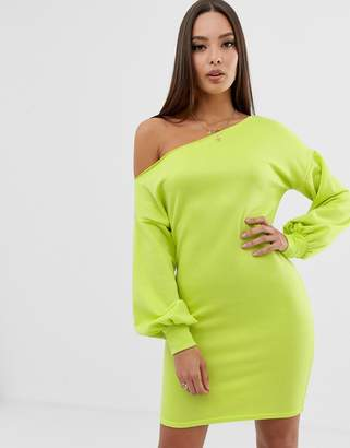 Asos Design DESIGN off shoulder sweat dress with bell sleeve-Green