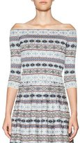 Alexander McQueen Fair Isle Off-the-Shoulder Crop Top, Multi
