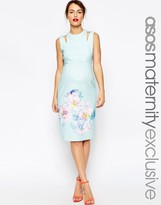 Asos Scuba Body-Conscious Dress In Large Bloom Print