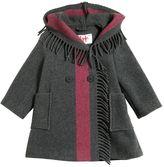 Il Gufo Fringed Wool Felt Blend Coat With Stripe