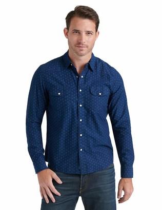 Lucky Brand Men's Long Sleeve Button Up Blue Print Santa Fe Western Shirt Large