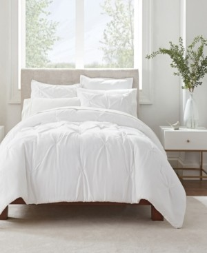 Serta Simply Clean Antimicrobial Pleated King Comforter Set, 3 Piece Bedding