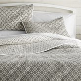 Crate & Barrel Raj Reversible Grey Quilts and Pillow Shams