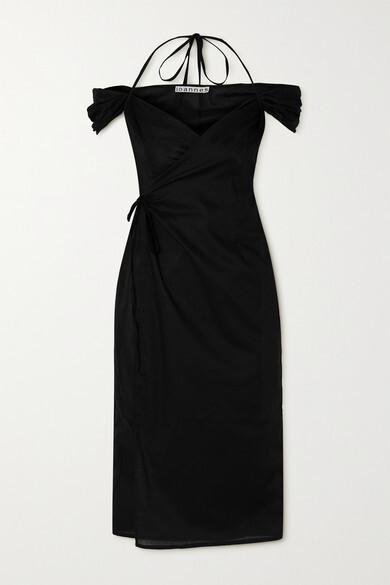 IOANNES Romeo Off-the-shoulder Cotton Wrap Dress - Black