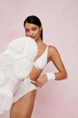 Nasty Gal Womens Coated Underwire V Neck Cut Out Bikini Set - Cream