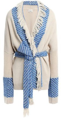 Charli Belted Chenille-trimmed Fringed Knitted Cardigan