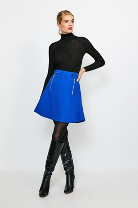 Karen Millen Structured Crepe Quilted Panelled A Line Skirt