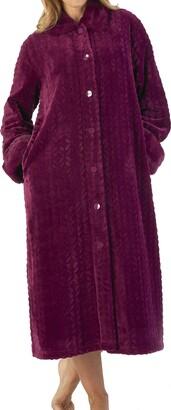 "Slenderella Ladies Grey 46""/116cm 300GSM Soft Thick Velvet Fleece Faux Fur Collar and Cuffs Button Up House Coat Dressing Gown Medium UK 12/14"