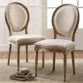 Shiraz Linen Oval Back Dining Chairs in Natural (Set of 2)