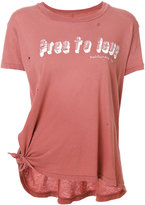 Current/Elliott distressed tie detail T-shirt - women - Cotton - 0