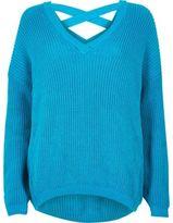 River Island Womens Blue knit cross strap sweater