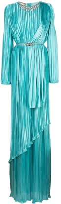 Gucci Crystal-Embellished Draped Pleated Dress