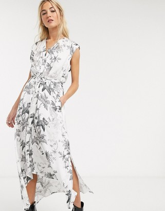 AllSaints tate evolution skeleton and floral print maxi dress in white