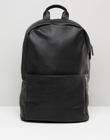Asos Backpack In Black Faux Leather