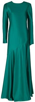 Alberta Ferretti Long Sleeve Bateau Long V-Back Dress
