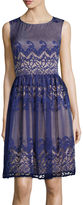 London Times London Style Collection Sleeveless Scroll Stripe Lace Fit-and-Flare Dress