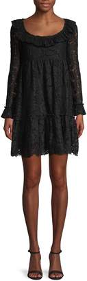 Valentino Ruffle Embroidered Lace Shift Dress