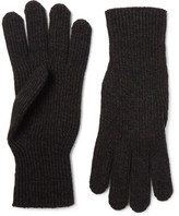 Margaret Howell Ribbed Merino Wool And Cashmere-blend Gloves - Brown