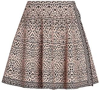 Alaia Lynx-Print Knit A-Line Skirt