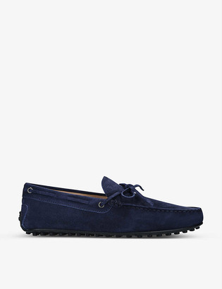 Tod's City tie-detail suede driving shoes