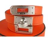 Hermes pristine (PR Orange Guilloche Swift Kelly Double Tour Silver Cuff Bracelet, Rare