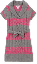 Pink Angel Fuchsia & Gray Stripe Tie-Waist Shawl-Collar Dress - Girls