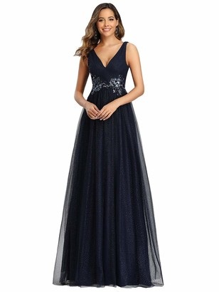 Ever Pretty Ever-Pretty Women's Classic V Neck Floor Length A line Empire Waist with Appliques Elegant Tulle Evening Party Dresses Navy Blue 14UK
