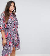 Simply Be Floral Velvet Twist Front Dress