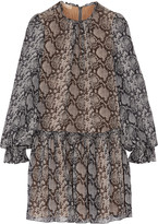 Michael Kors Printed silk-chiffon mini dress