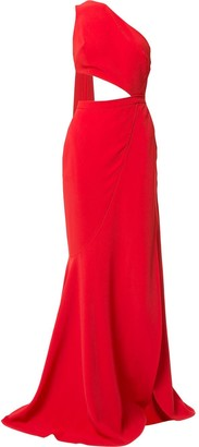 Elie Saab cut-out high slit gown with back sash