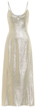 Paco Rabanne Metallic stretch-knit slip dress