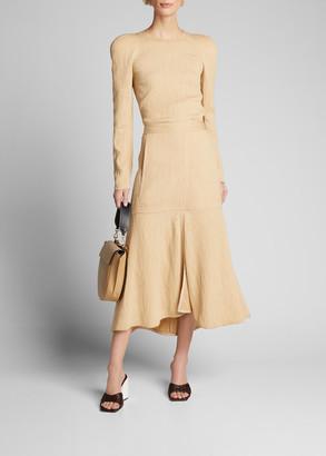 Tibi Plisse Front-Slit Flared Long Skirt
