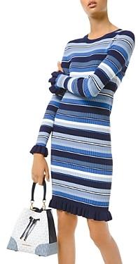 MICHAEL Michael Kors Ruffle Trim Striped Ribbed Dress