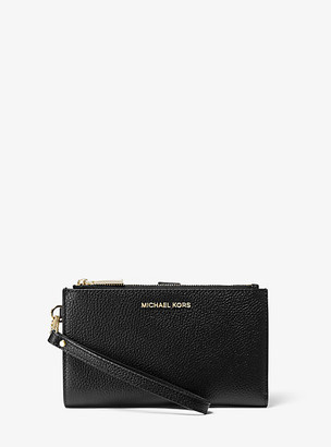 MICHAEL Michael Kors MK Adele Pebbled Leather Smartphone Wallet - Black - Michael Kors