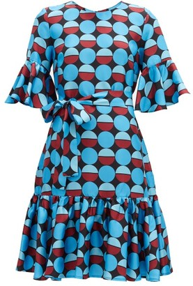 La DoubleJ Curly Swing Geometric-print Silk Dress - Blue Print