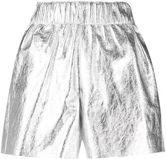 Manokhi Crinkle-Finished Metallic Leather Shorts