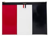 Thom Browne Medium Zippered Document Holder in Blue,Red,White.