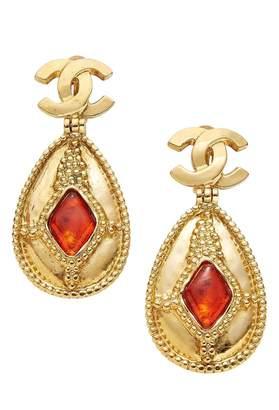 Chanel Orange Gripoix Gold Earrings