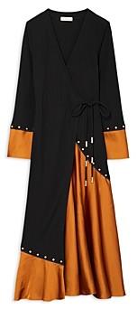 Tory Burch Mixed Material Wrap Dress