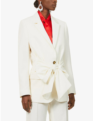 MSGM Belted single-breasted wool-blend jacket