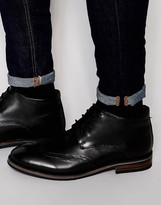 Dune Brogue Boots In Black Leather