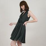 Molly Bracken Sleeveless Flared Floaty Mini Dress with Tie V-Neck